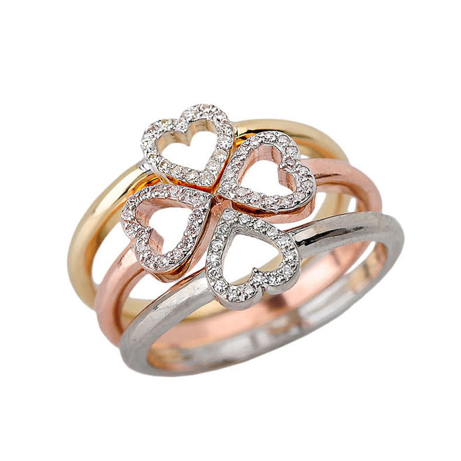 Gold Dainty Diamond Heart Stackable Infinity Ring