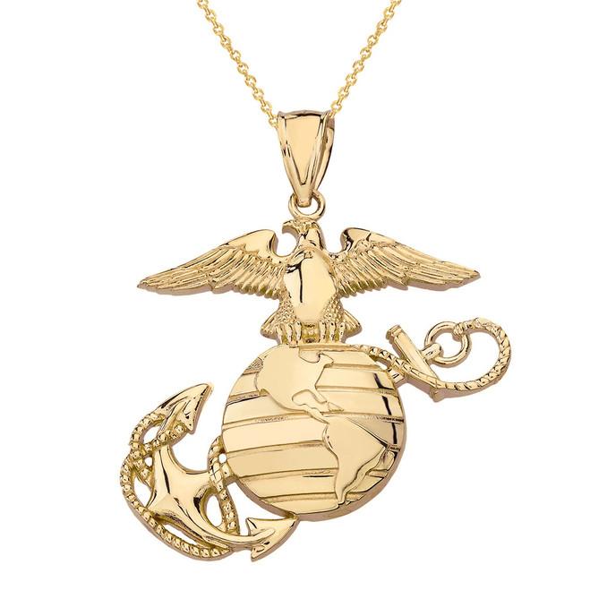 Solid Yellow Gold U.S Marine Corps Emblem Pendant Necklace