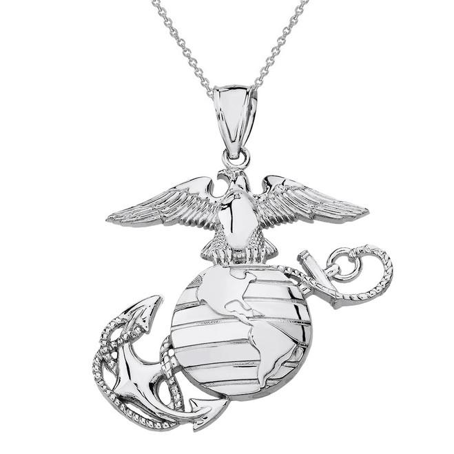 Solid White Gold U.S Marine Corps Emblem Pendant Necklace