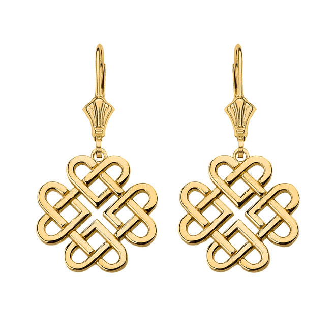 Solid Yellow Gold Woven Celtic Hearts Drop Earring Set