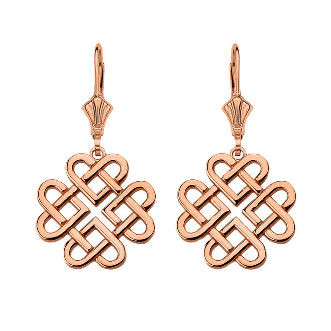 14K Solid Rose Gold Woven Celtic Hearts Drop Earring Set