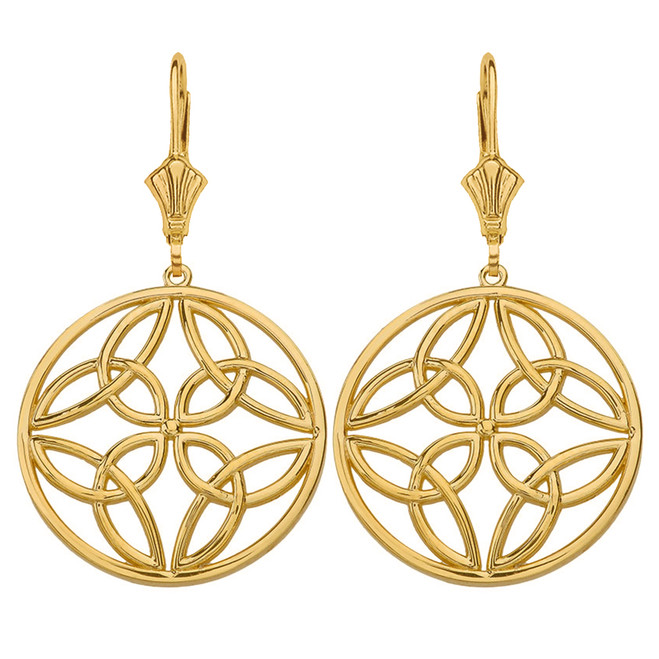 Solid Yellow Gold Triquetra Trinity Celtic Knot Circle Drop Earring Set  (Large)