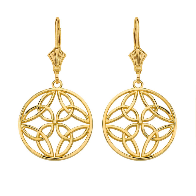 Solid Yellow Gold Triquetra Trinity Celtic Knot Circle Drop Earring Set  (Small)