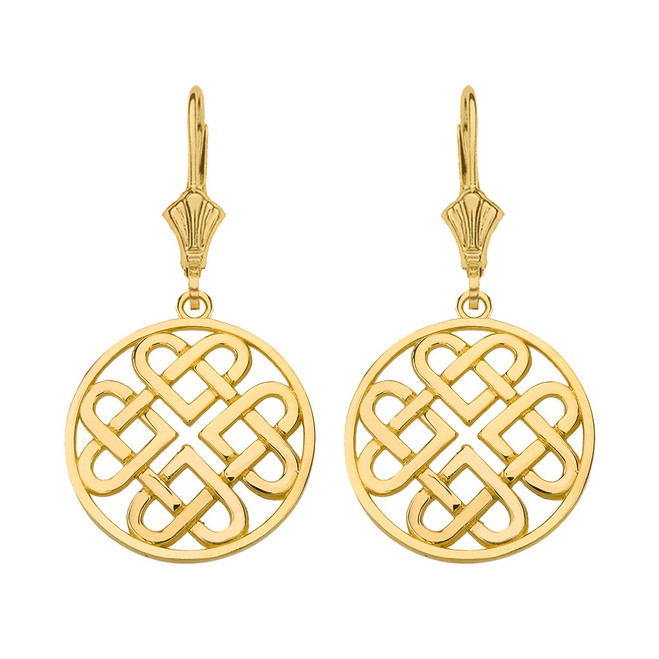 Solid Yellow Gold Woven Celtic Hearts Circle Drop Earring Set  (Small)