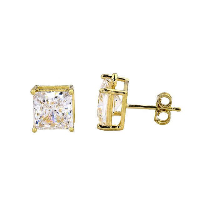 Yellow Gold Elegant Princess Cut Stud Earrings