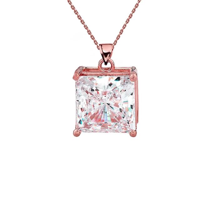 Rose Gold Elegant Princess Cut Necklace