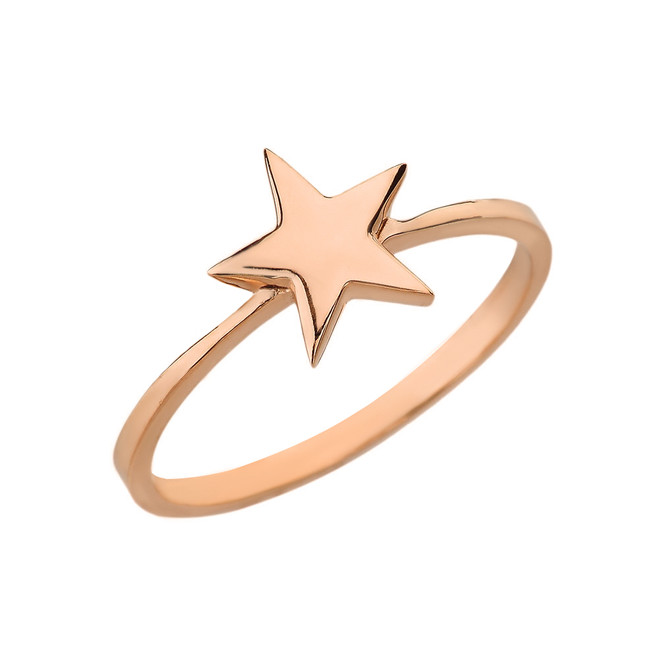 Solid Rose Gold Star Stackable Ring