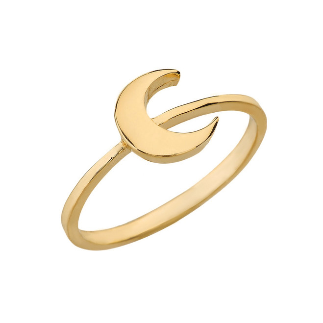 Solid Yellow Gold Moon Stackable Ring