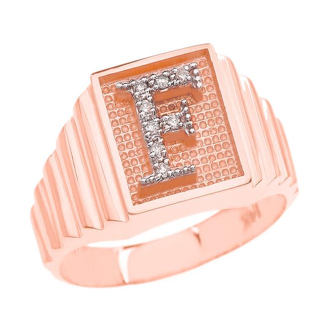 Rose Gold Diamond Initial F Ring