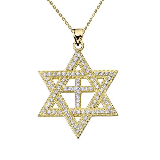 Yellow Gold Diamond Judaeo-Christian Pendant Necklace