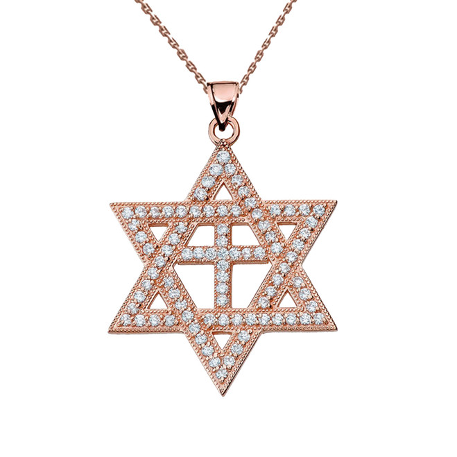Rose Gold Diamond Judaeo-Christian Pendant Necklace