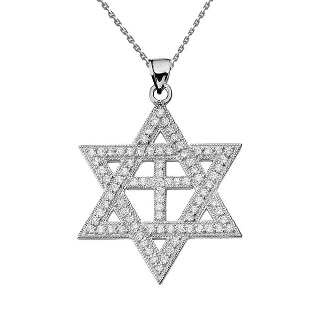 White Gold Diamond Judaeo-Christian Pendant Necklace