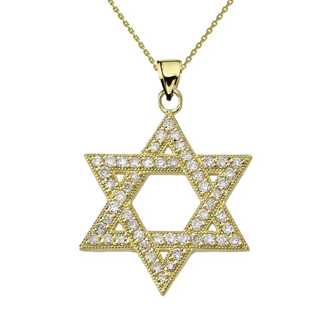 Yellow Gold Diamond Jewish Star of David Pendant Necklace