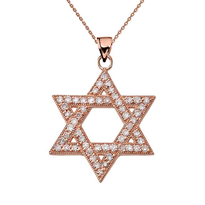 Rose Gold Jewish Star of David Pendant Necklace