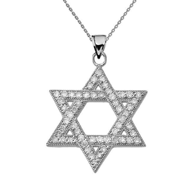 White Gold Jewish Star of David Pendant Necklace