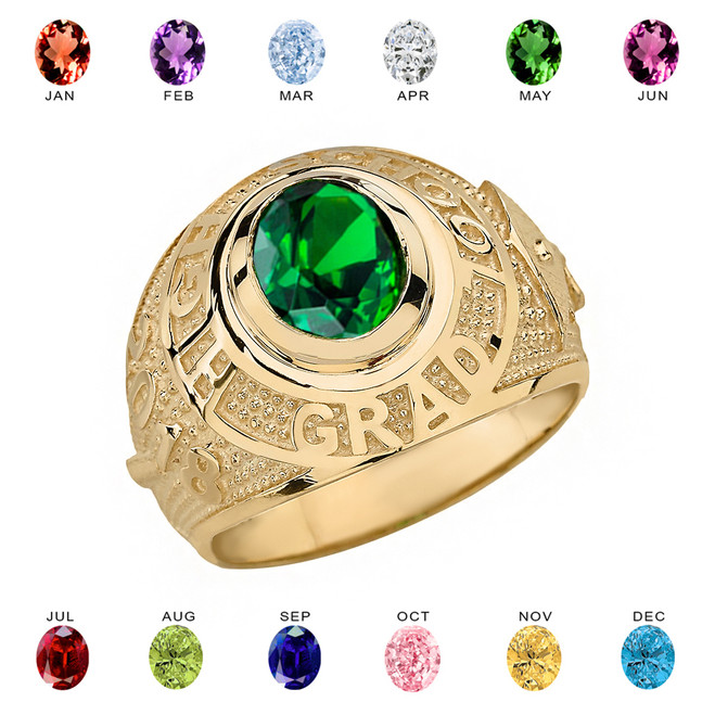 Solid Yellow Gold High School Graduation Class of 2018 CZ Birthstone Ring