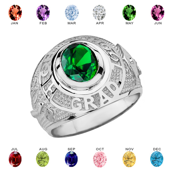 Size 4.75 Mens 925 Sterling Silver Personalized CZ Birthstone Statement Ring