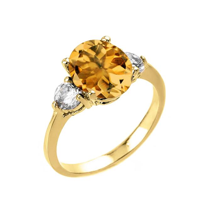 Yellow Gold Genuine Citrine and White Topaz Gemstone Engagement Ring