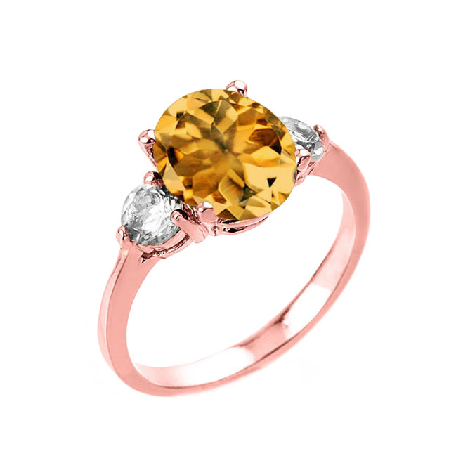 Rose Gold Genuine Citrine and White Topaz Gemstone Engagement Ring