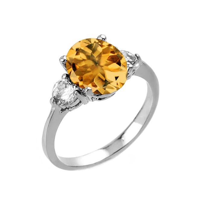 White Gold Genuine Citrine and White Topaz Gemstone Engagement Ring