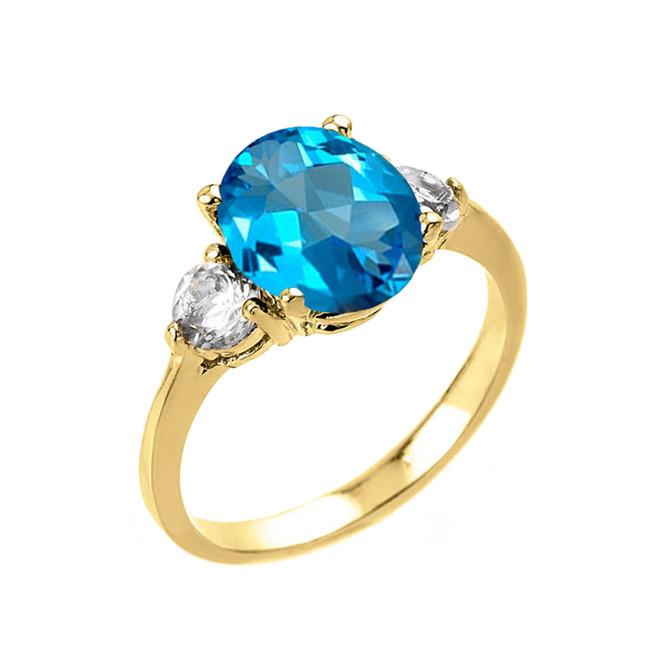 Yellow Gold Genuine Blue Topaz and White Topaz Gemstone Engagement Ring