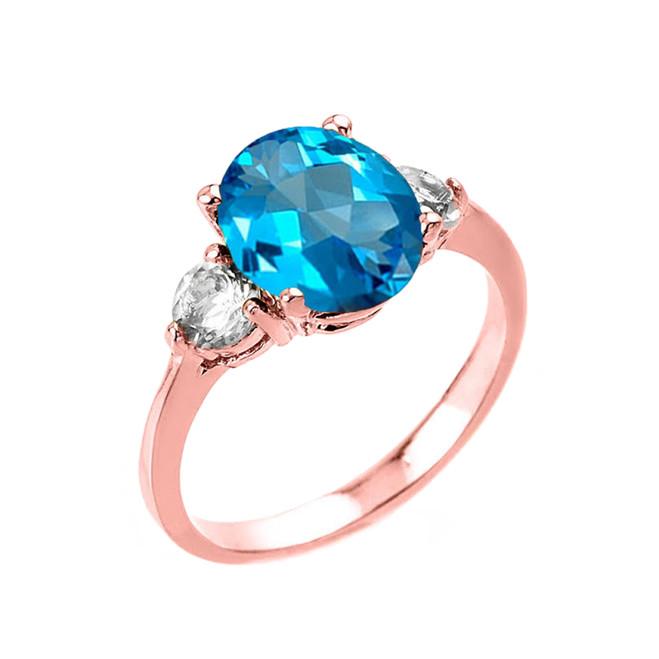 Rose Gold Genuine Blue Topaz and White Topaz Gemstone Engagement Ring