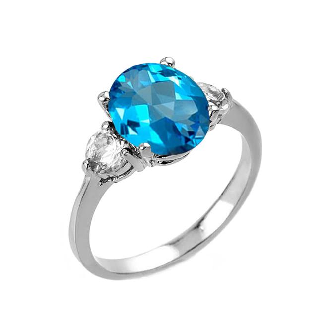 White Gold Genuine Blue Topaz and White Topaz Gemstone Engagement Ring