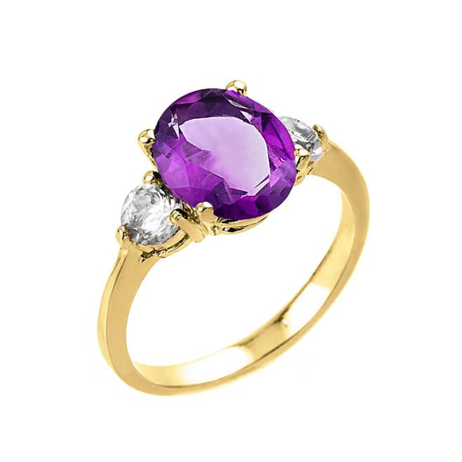 Yellow Gold Genuine Amethyst and White Topaz Gemstone Engagement Ring
