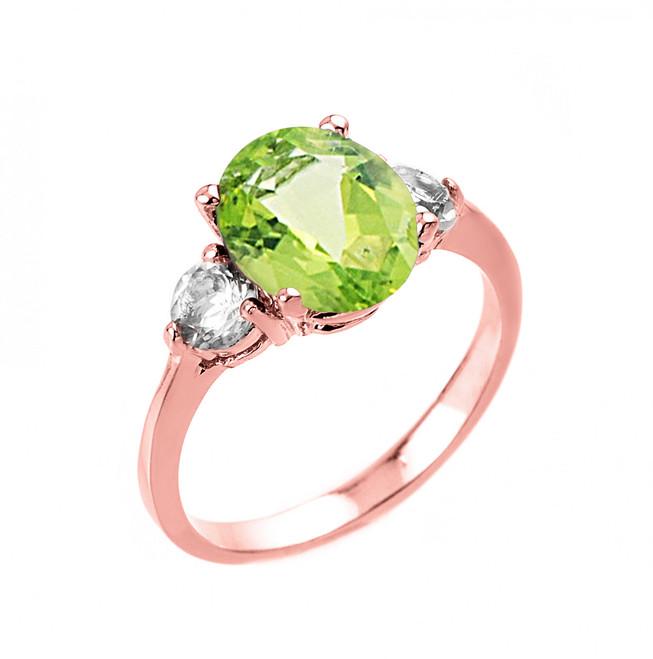 Rose Gold Genuine Peridot and White Topaz Gemstone Engagement Ring