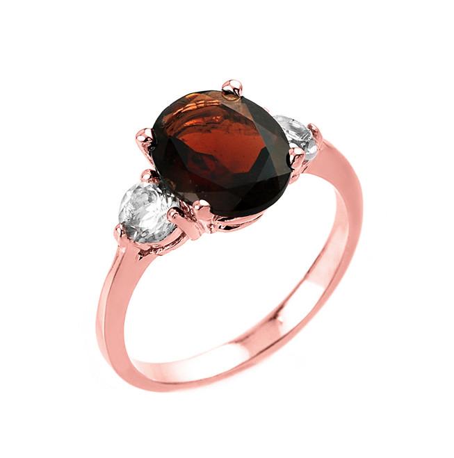 Rose Gold Genuine Garnet and White Topaz Gemstone Engagement Ring