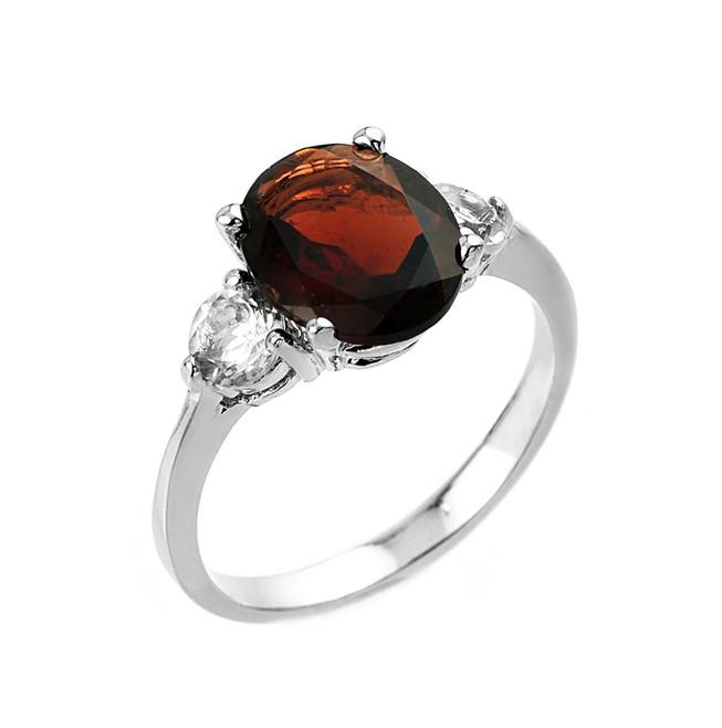 White Gold Genuine Garnet and White Topaz Gemstone Engagement Ring
