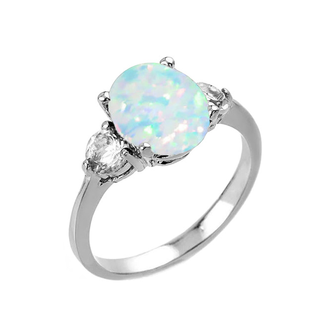 White Gold Simulated Opal (LCO) and White Topaz Gemstone Engagement Ring