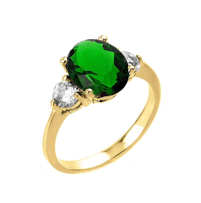 Yellow Gold Emerald (LCE) and White Topaz Gemstone Engagement Ring