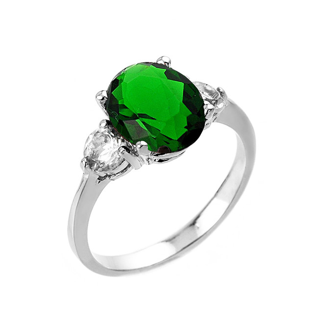 White Gold Emerald (LCE) and White Topaz Gemstone Engagement Ring