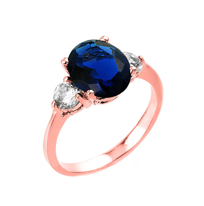 Rose Gold Sapphire (LCS) and White Topaz Gemstone Engagement Ring