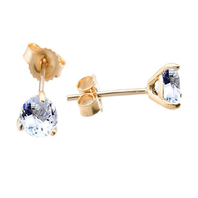 Genuine Aquamarine Martini Earrings in Yellow Gold
