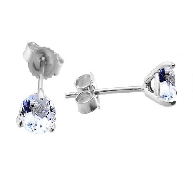 Genuine Aquamarine Martini Earrings in White Gold