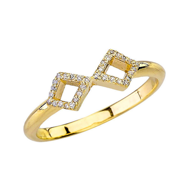 Yellow Gold Mirrored Open Diamond Ring