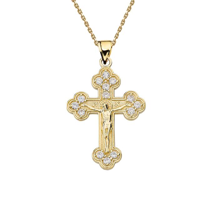 Yellow Gold Eastern Orthodox Diamond Crucifix Pendant Necklace