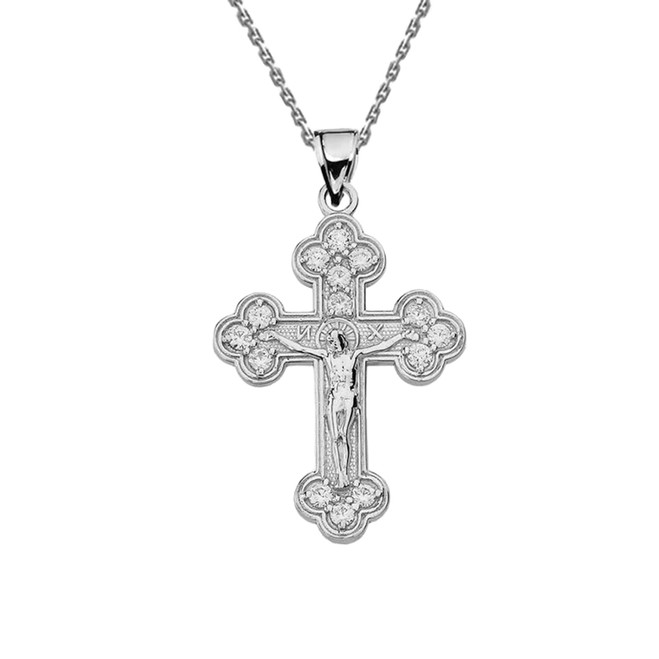 Sterling Silver  Eastern Orthodox C.Z Crucifix Pendant Necklace