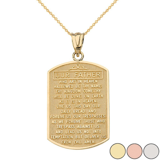 Our Father Prayer Pendant Necklace in Solid Gold (Yellow/Rose/White)