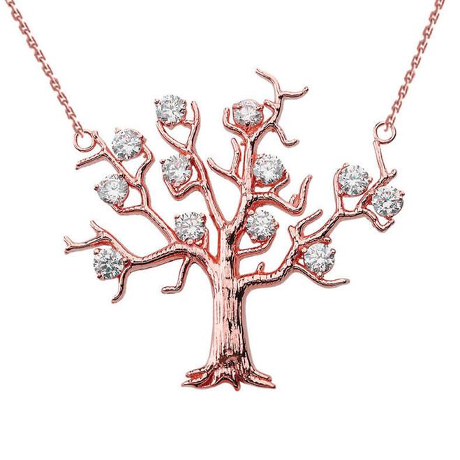14K Rose Gold Tree Necklace