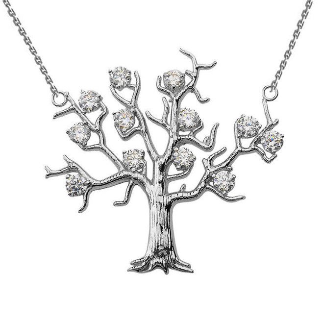 14K White Gold Tree Necklace