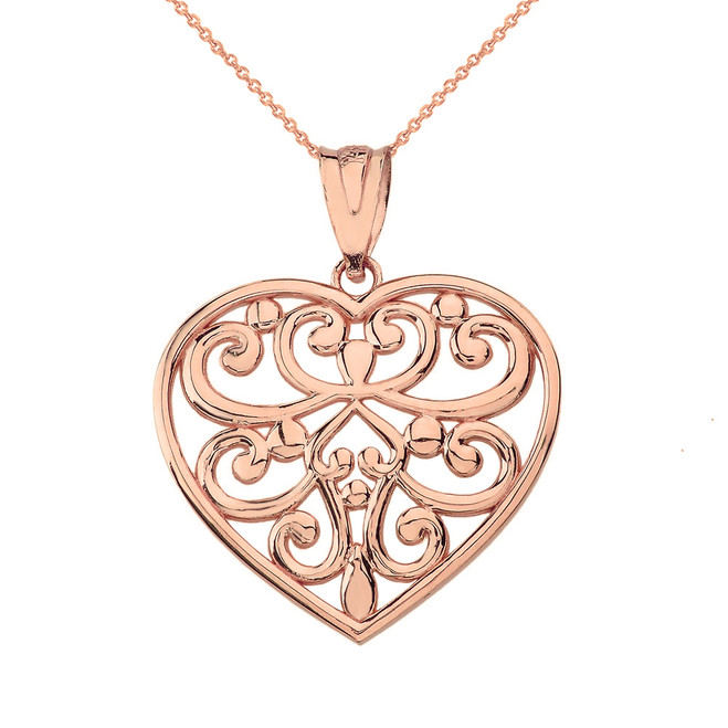 Solid Rose Gold Filigree Heart Pendant Necklace