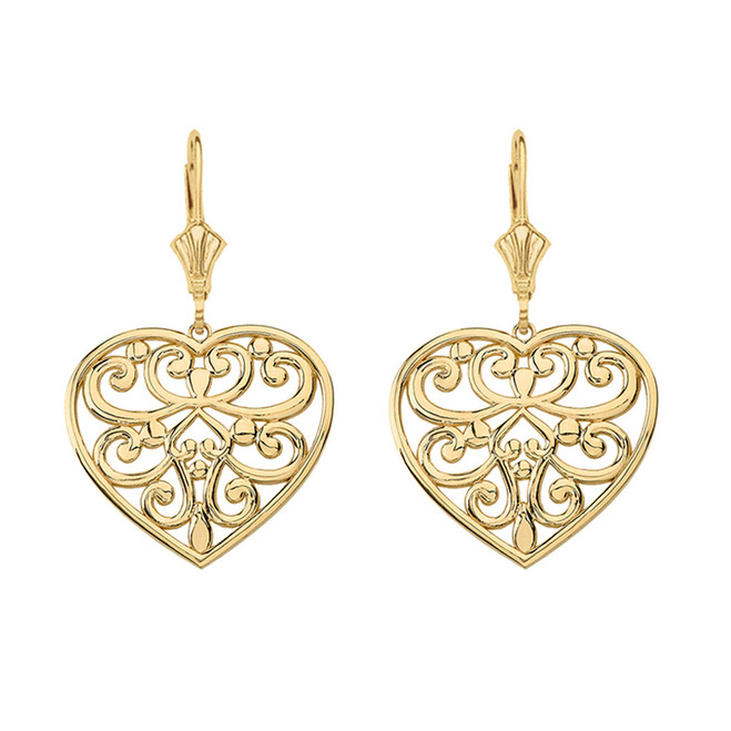 Solid Yellow Gold Filigree Heart Drop Earring Set