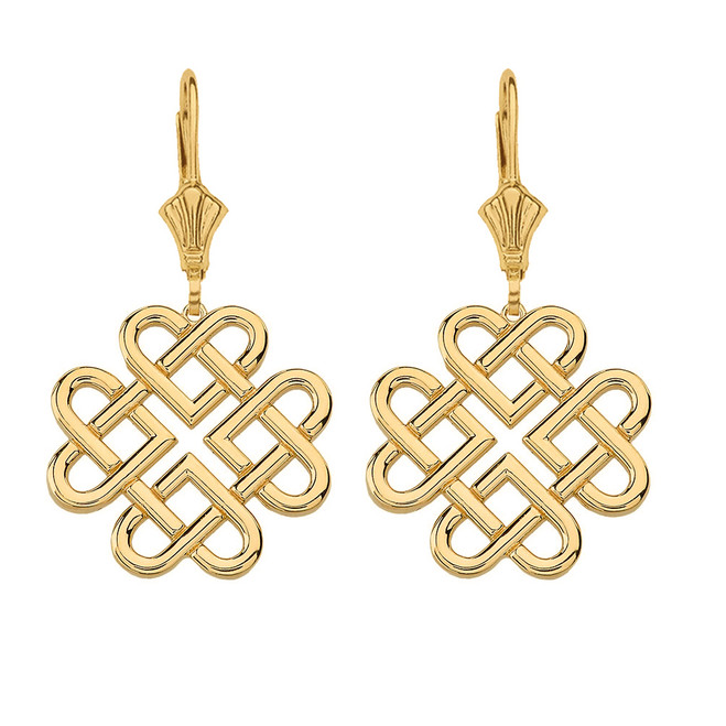 Solid Yellow Gold Woven Celtic Hearts Drop Earring Set  (Large)