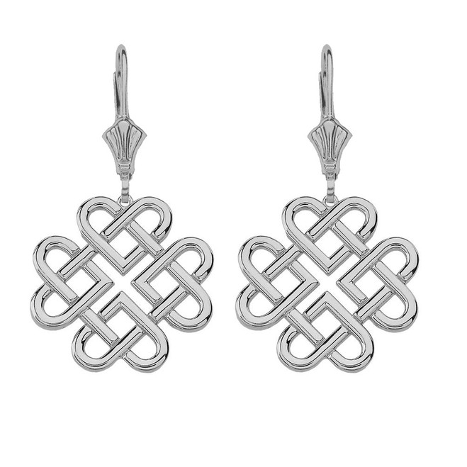 14K Solid White Gold Woven Celtic Hearts Drop Earring Set  (Large)