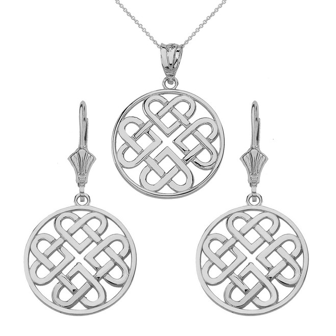 14k Solid White Gold Woven Celtic Hearts Circle Necklace Earring Set