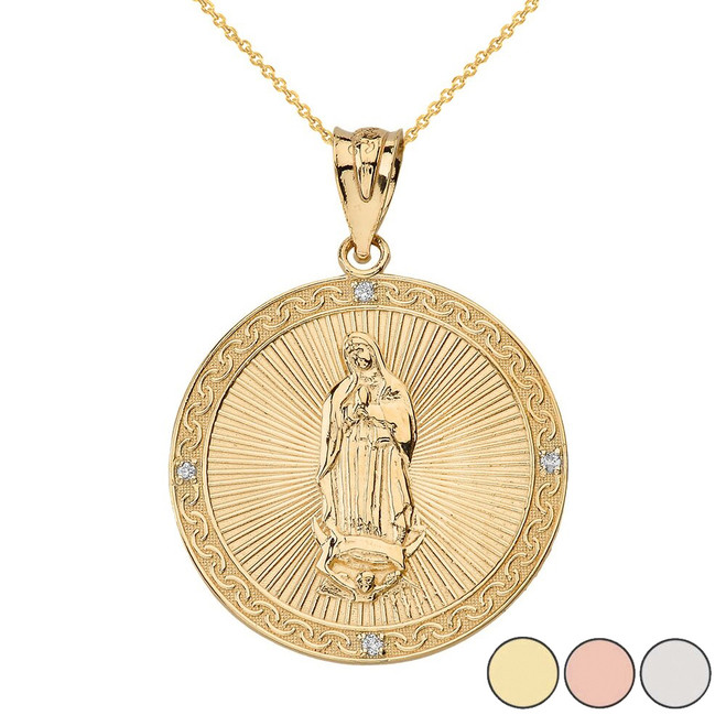 Our Lady of Guadalupe Engravable Circle Medallion Diamond Pendant Necklace (Small) in Solid Gold (Yellow/Rose/White)