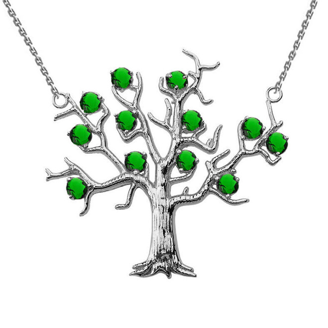 14K White Gold Emerald (LCE) Tree Necklace